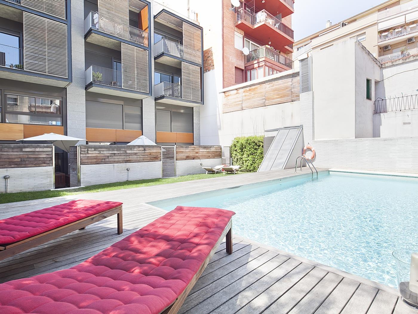 Terrace and Swimming Pool near Barcelona Center for 8 - My Space Barcelona Apartments